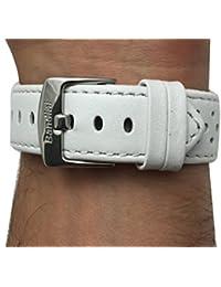 22mm blanco ventilación Racer piel auténtica correa para reloj banda, con hebilla de acero inoxidable, nuevo.