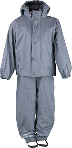 mikk-line Unisex Baby PU Rainwear-Set Regenhose und Regenjacke Wassersäule 8000 Jacke, Grau (Castlerock 156), 98 -