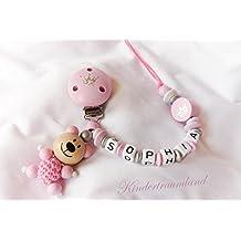 Cadena para chupete con nombres, oso, oso, corona, color rosa, plata, niña, Bautizo