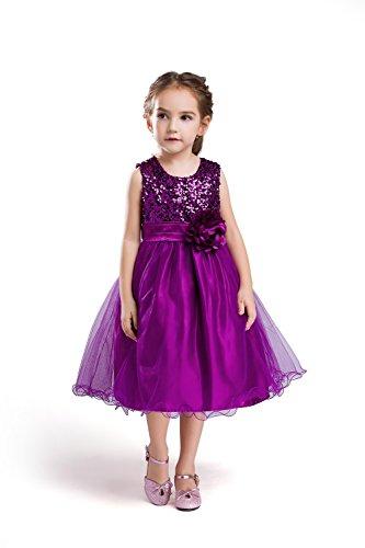 ELSA & ANNA® Top Qualität Mädchen Prinzessin Kleid Hochzeits Partei Kleid Verrücktes Kleider Brautjungfer Kleid Weihnachtsfest Kleid Partei Kostüm Outfit DE-PPL-PDS04 (5-6 Jahre, PDPPL04)
