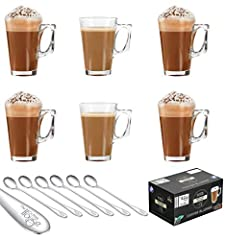 Idea Regalo - Ever Rich ® 240 ml bicchieri latte caffè tazza di tè (Fits Tassimo e Dolce Gusto) Set di 6 bicchieri (6 bicchieri con cucchiaio)