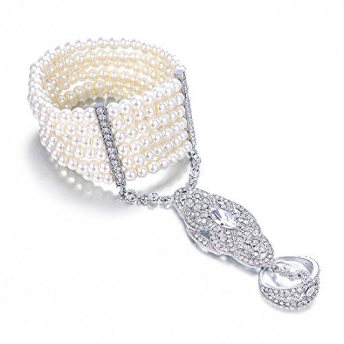 Vintage Simuliert Perlen Armband Ring Set Dehnbar Great Gatsby Inspirierte Frauen 1920er Retro Accessoires für Hochzeitsfeier (Versilbert)