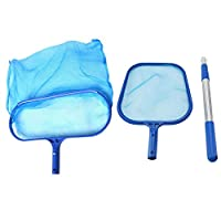 ‏‪Festnight Swimming Pool Skimmer Net Set Includes 1 PCS Deep Leaf Skimmer Net 1 PCS Leaf Rake with Mesh Net Bag 1 PCS Aluminum Telescopic Pole Cleaning Tool for Pools and Spa (Flat Rake and Deep Rake)‬‏