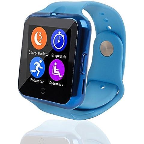 YinoSino Teléfono inteligente C88 / Reloj Bluetooth / Reloj Android / Reloj para la salud con monitor de pulso cardíaco, pantalla táctil y cámara, tarjeta Sim y puertos para tarjeta TF batería de larga duración en tiempo de espera para teléfonos smartphone Android y los dispositivos IOS de iPhone (Azul)