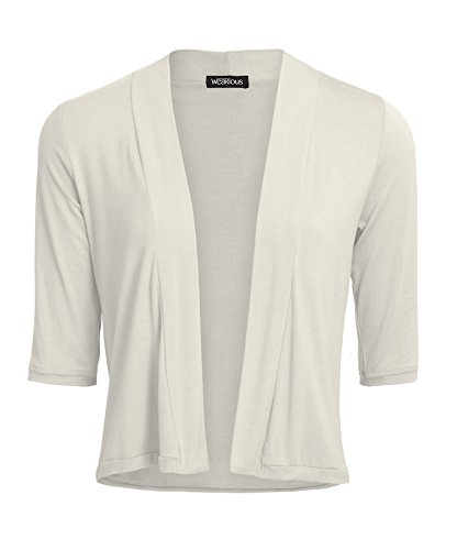 Wearious 3/4 Sleeve Casual Open Front Short Blazer Cardigan-Ivory-18