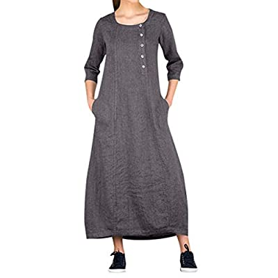 YONGPIN Women's Cotton and Linen Dress Button Round Neck Short-Sleeved Dress?Summer Floral Print Spaghetti Strap Casual Button Boho Swing Midi Dress with Pockets Gray