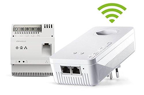 Devolo dLAN 1200+ DINrail WiFi ac (1x Gigabit-Powerline-Bridge für die Hutschiene und 1x dLAN 1200 WiFi ac Adapter, 1200Mbit/s per Powerline, Internet via Steckdose, PowerLAN) - Scghweizer Stecker