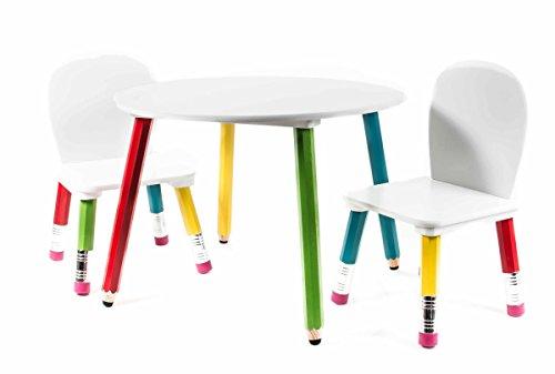 Sitzgruppe für Kinder, Tisch mit 2 Stühlen, Buntstift/Radiergummi - Design