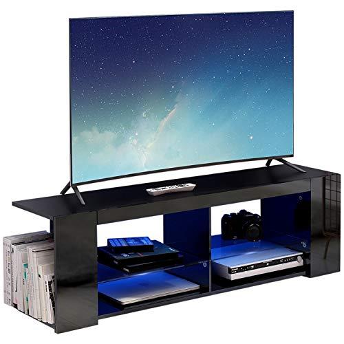 Modern Luxe ® TV Board Lowboard Fernsehschrank Fernsehtisch TV Regal schwarz Fronten in Hochglanz mit led Beleuchtung (Schwarz)