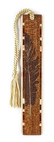 Feather - Bird - Engraved Wooden Bookmark with Tassel