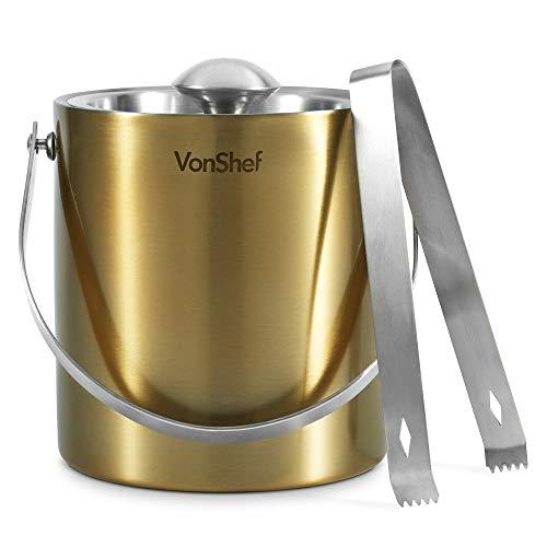 VonShef Eiskübel mit Zange & Deckel gebürstetes Gold - 2 Liter doppelwandig isolierter Edelstahl, Tragegriff