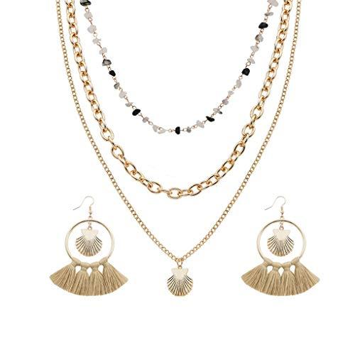 BoburyL Mujeres Sistemas de la joyería del Rhinestone del Metal Colgante Concha de múltiples Capas Collar de la Borla de los Pendientes de Regalo