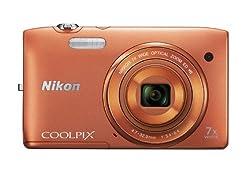 Nikon COOLPIX S3500 20.1 MP Digital Camera with 7x Zoom (Orange)