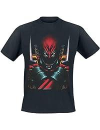 Deadpool - Camiseta con motivo frontal del super héroe Marvel - Licencia oficial - Negro