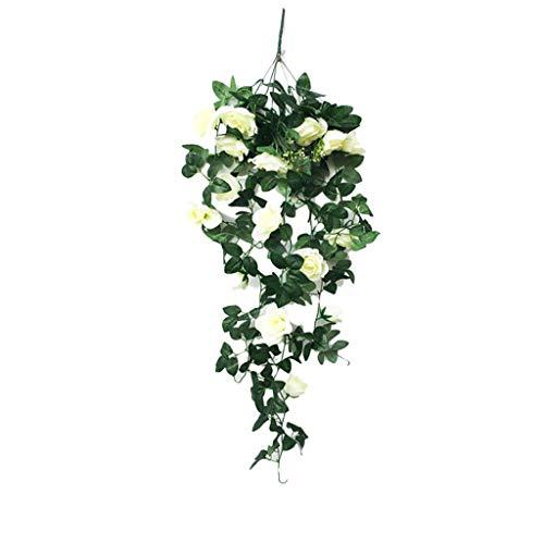 QUINTRA Künstliche Blume Klassische Rebe-Wand Rose Flower Hanging Flower Living Room-Balkon-Haus Dekoration Blume -