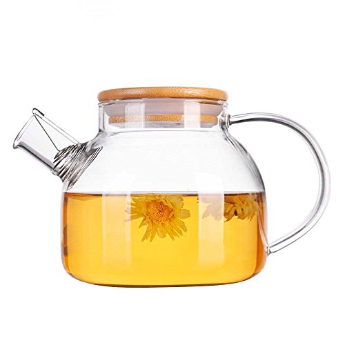 1000ml / 34oz Glas Wasserkocher Teekanne mit hitzebeständigen Filter Sieb Bambus Holz Deckel Auslauf Borosilikat Krug Karaffe ideal für Tee Saft Wasser - heiß und iced