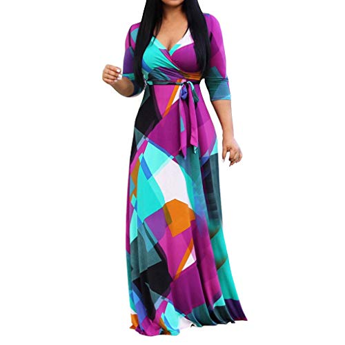 axikleider Strand Kleid Freizeit Lange Kleid Elegant Maxikleider Tief V-Ausschnitt Strandwear Blumendruck Langarm Kleid Groß Größen Böhmisches Langes Maxi Kleid Binden S-5XL ()