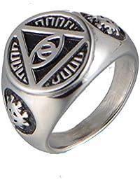 d935325de30e Jewelry CCF Joyas de Acero Inoxidable Hombres Anillos triángulos Ojos de  Dios Anillos de Oro Moda