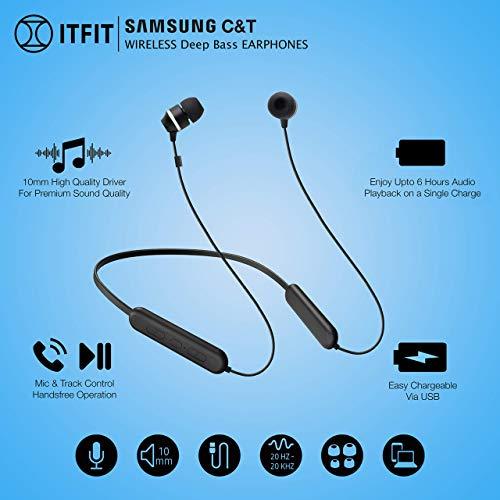 (Renewed) Samsung ITFIT Bluetooth Wireless Earphone with Flexible Neck Band and handsfree Mic (GP-OAU019SABBI, Black) Image 7