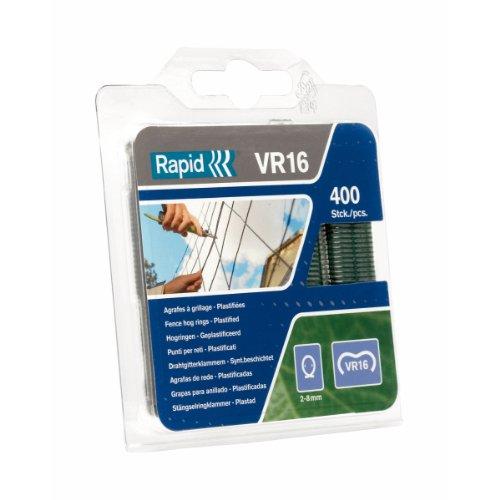 Rapid, 40108797, Agrafes de grillage galvanisées vertes, VR16, 2-8 mm, 400 pièces, Haute qualité