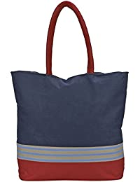 Spectrum Group Navy Blue & Red Fashion Tote Bag With Cushioned Handles