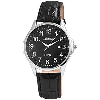 ALAIN MILLER Herrenuhr Schwarz Silber Analog Datum Metall Leder Quarz Armbanduhr