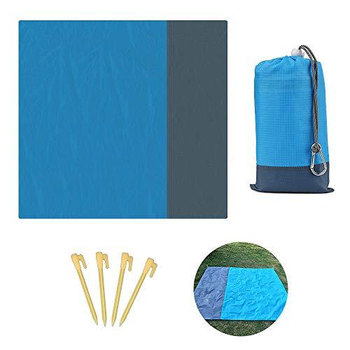 Zorara Picknickdecke 210 x 200 cm,Picknickdecke Outdoor Wasserdicht Sandabweisend Picknickmatte, für Reisen,aus Weiches Nylon, sandabweisende Tragbare Camingmatte Matte mit 4 Pfosten (Blau)