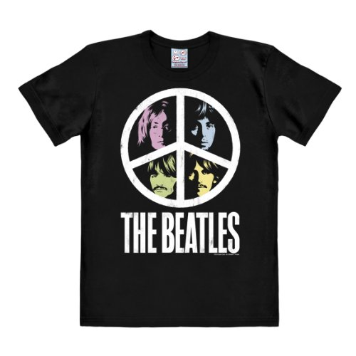 Logoshirt Camiseta The Beatles - Peace - Camiseta - The Fab Four - Camiseta con Cuello Redondo Negro - Diseño Original con Licencia