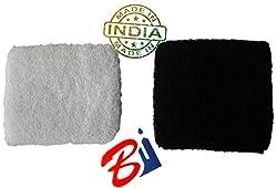 2 Pair (BLACK & WHITE Pair Each) Export Quality Sport Prash Wristband PLAIN Sweat band Workout Tennis