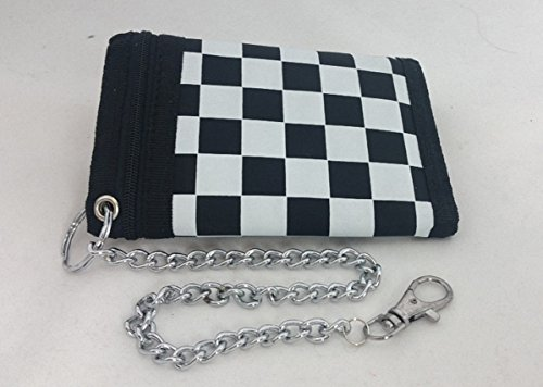 Preisvergleich Produktbild Biker Wallet Skull Lone Star Keltenknoten Kid Wallet Stern Schachbrett bunte Totenköpfe (Schachbrett)