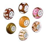 Akki Murano Glas Charms Beads für Armband Kette 8er Set Angebot Perle Blumenmuster Kompatibel mit Pandora Starter muranoglas schwarz weiß pink grün türkis Khaki