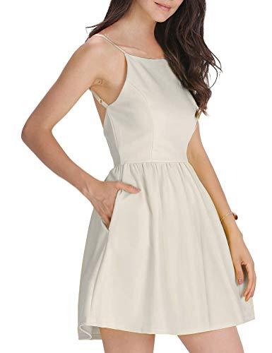 rkleid Armellos Spaghetti-Armband Kleider Elegant Rückenfreies Kurze Kleid Minikleid Beige L(42-44) ()