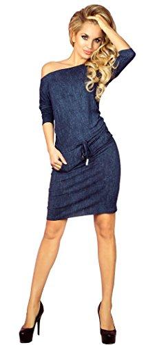 Glamour Empire Donna Sport Vestito midi nastri in vita - abito maniche 3/4 - 533 Jeans Marina