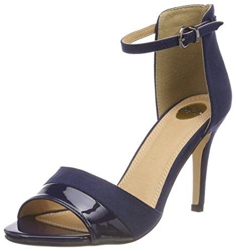 Buffalo Shoes 312339 IMI SUEDE PAT PU, Damen Knöchelriemchen Sandalen, Blau (NAVY 10), 41 EU -