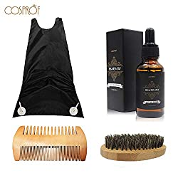 Cosprof Moustache Beard Oil Set Conditioner Grooming Kit Hair Trimming Catcher Healthy Moisturizing Moustache Wax Brush Comb Natural