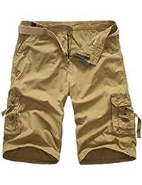 976e3b3ae1d8 Elonglin Hommes Shorts Bermudas Cargo Outdoor Coton Casual Lâche Poche Homme  Eté Cargo Shorts Bermuda Pantacourt
