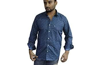 Spanish One Look Mens Long Sleeve 100% Cotton Regular Fit Button Down Casual Shirts Dress Shirt for Men (Blue Stripped, Medium)