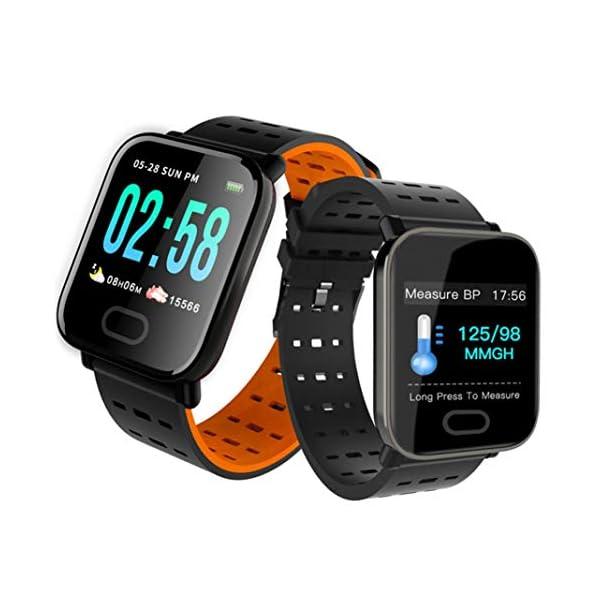 Pulsera inteligente con monitor de actividad física, pantalla de color A6, Bluetooth, monitor de ritmo cardíaco, podómetro, pulsera inteligente para niños, mujeres y hombres azul 2