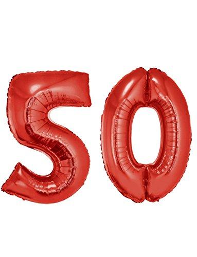 Große Zahlenballons Zahl 50 XXL 95-100cm in Farbe Rot, geeignet für Helium (Helium-tank Für 50 Ballons)