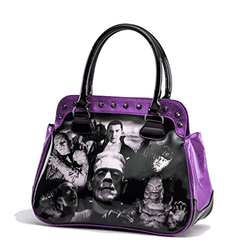 Rock Rebel Handtasche Monster Lila Glitter