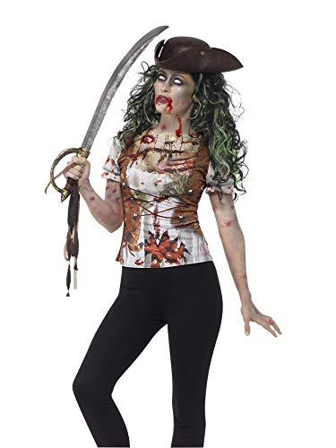 Smiffys 45565S - Damen Zombie Piraten Huren T-Shirt, Größe: 36-38, grün