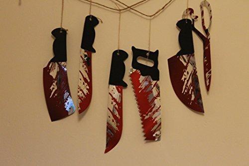 1,8 m Wandbehang Messer Girlande - 6pc an schnur - Verwendung in fenster, wände, kamin, usw Halloween Blutige Waffen Dekoration blut