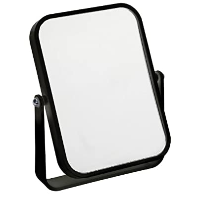 Fancy Metal Goods Free Standing Travel or Bathroom Mirror, Black - inexpensive UK light shop.