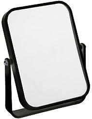 Fancy Metal Goods Free Standing Travel or Bathroom Mirror, Black