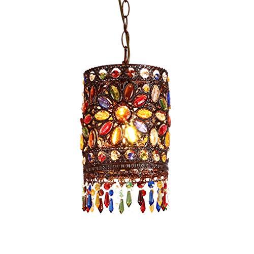 Pendellampe Retro Tiffany Bunt Kristall Decken Hängeleuchte Rustikal Pendelleuchte Antik Hängelampe Innenbeleuchtung Wohnzimmer Lampe Esszimmerlampe 1*E27 Schmiedeeisen Lampenschirm Leuchte - 1 Licht Anhänger Leuchte Antik