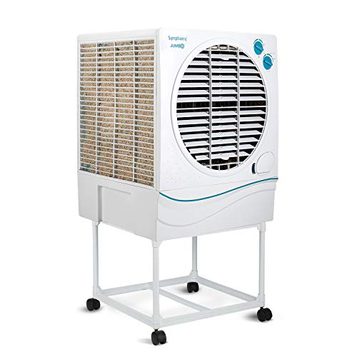 Symphony Jumbo 70 Desert Air Cooler 70-litres, with Trolley, Powerful Fan, 3-Side Cooling Pads, Whisper-Quiet Performance & Low Power Consumption (White)