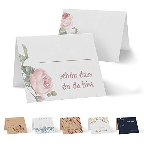 Partycards 50 Tischkarten/Platzkarten DIN A7 für Hochzeit, Geburtstag, Kommunion, Taufe (DIN A7, Rosenblüte)