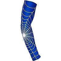 longyitrade Manga del Brazo del Deporte de los Hombres,Tela de araña patrón Arm Guard Tenis bádminton Deportes Codo Brazo Manga cojín Azul Medium