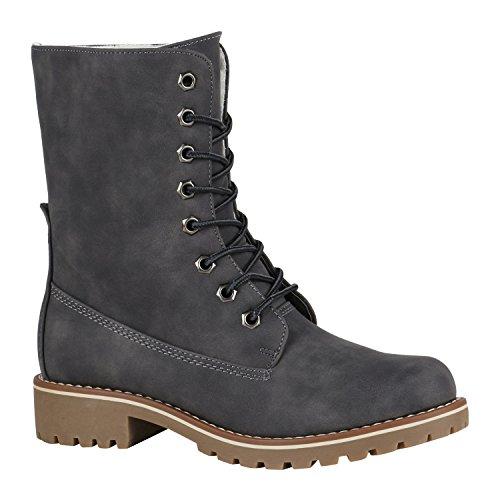 Gefütterte Damen Worker Boots Outdoor Stiefeletten Schuhe 148901 Grau Matt 40 Flandell