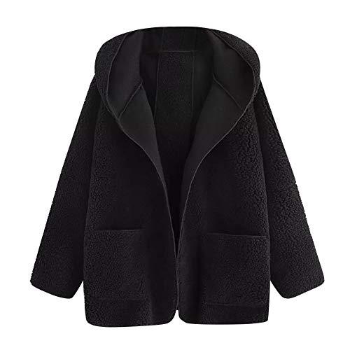 Sannysis Damen Pullover Herbst Winter Elegant Plüschmantel Frauen Casual Drop Schulter Dual Pocket Mantel mit Kapuze Mantel Bluse Outwear -